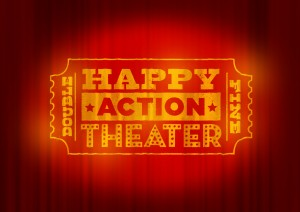 happy action theater logo and curtain