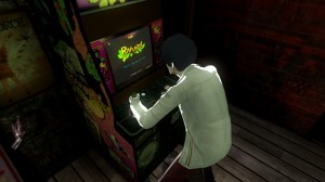 Vincent plays video game in catherine
