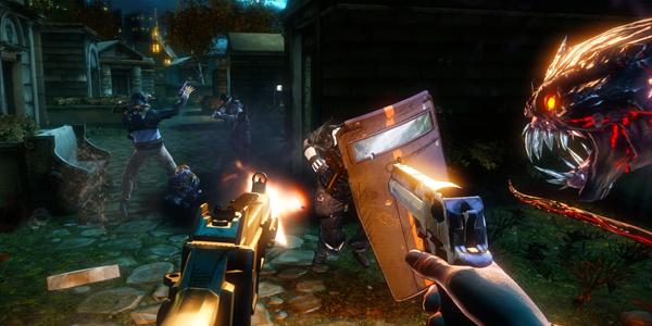 Darkness 2 gameplay screenshot, demons and guns, oh my!