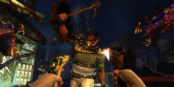 Darkness-2 gameplay screenshot, incoming berserker.