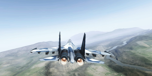 janes advanced strike fighters in flight, over the shoulder view