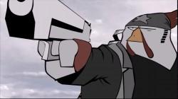 Hardboiled Chicken pointing his gun