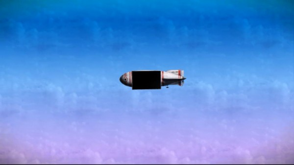 Screenshot of penguin forces' zeppelin floating in the sky