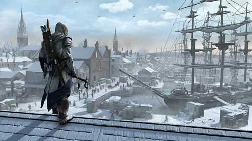 Assassin's Creed 3 - Boston Port Vista view from roof above it