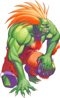Blanka from Street Fighter in Super mode