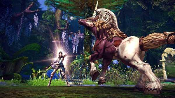Tera - battling large unicorn
