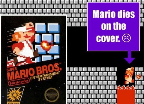Mario dies on Super Mario Bros. box art